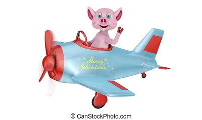 avion, noël, joyeux, porcelet