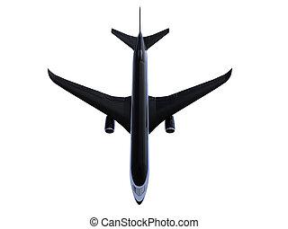 avion, noir, isolé, vue