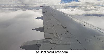 avion, nuages, aile
