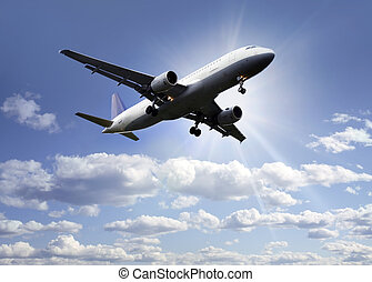 avion, nuages