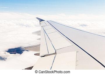 avion, nuages, vue