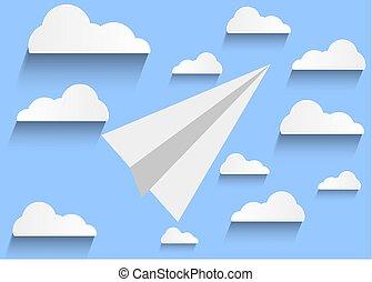 avion, papier, ciel