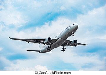 avion passager, coucher soleil, atterrissage, temps