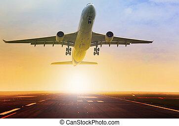 avion passager, fron, prendre, jet, piste, aéroport, fermé, ...