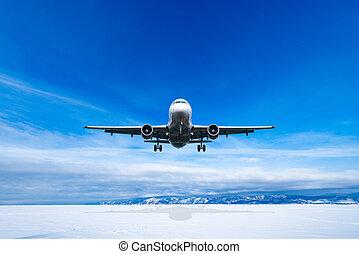 avion, passager, hiver, time., jour, atterrissage