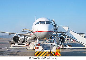 avion passager, maintenance., avion, aéroport.