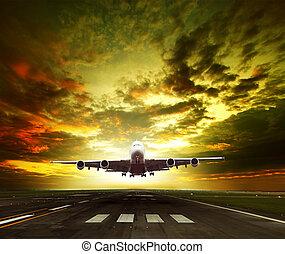 avion passager, prêt, prendre, fermé, sur, aéroport, pistes, usage, pour, tra