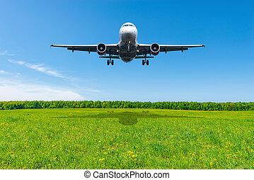 avion, passager, time., jour, atterrissage, été
