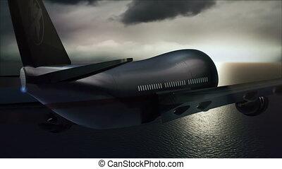 avion passager, voler, -, coucher soleil