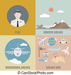 avion, pilot., international, et, conjugal, ligne aérienne