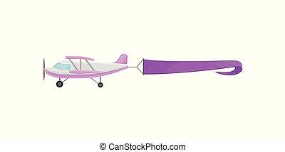 avion, pourpre, voler, illustration, vecteur, publicité, fond, horizontal, bannière, blanc