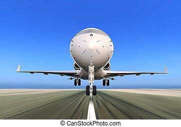 avion réaction, partir, à, ternissure mouvement