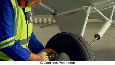 avion, roue, 4k, fixation, ingénieur