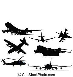 avion, sept, noir, silhouettes., blanc