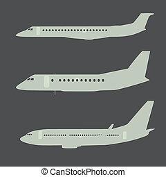 avion, silhouettes, 2, partie, vue côté