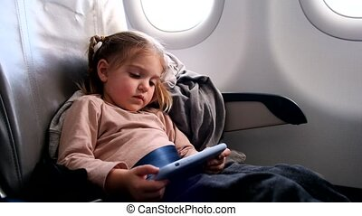 avion, smartphone, mignon, petite fille