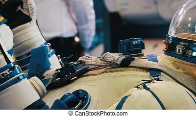 avion, spacesuit, blanc, vieux, exposition, technologie