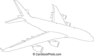 avion., vecteur, dessin