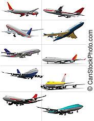avion., vecteur, illustration