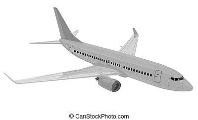 avion., vecteur, illustration.
