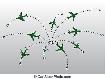 avion, vecteur, lignes