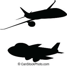 avion, vecteur, silhouettes