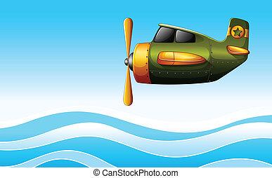avion, vert, au-dessus, océan