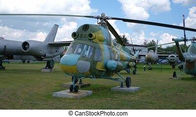 avion, vieux, militaire, exposition, plein air, transport
