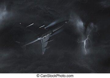 avion, vol, orage