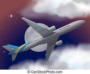 avion, voler, ciel, nuit