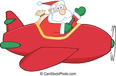 avion, voler, claus, santa