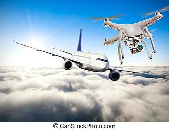 avion, voler, commercial, bourdon