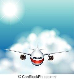 avion, voler, dans, les, ciel
