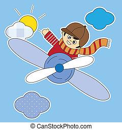 avion, voler, enfant