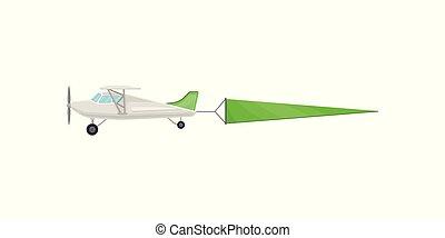 avion, voler, illustration, vecteur, vert, publicité, fond, horizontal, bannière, blanc