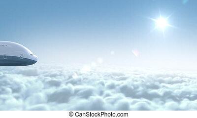 avion, voler, nuages, sur