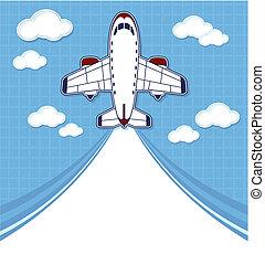 avion, voyage, fond