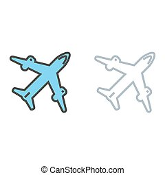 avion., voyage, icône