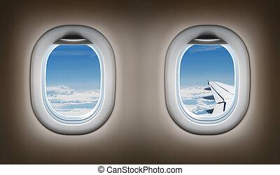 avion, windows., deux, jet, interior.