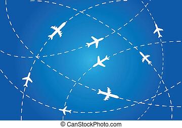 aviones, navegar, sobre aire
