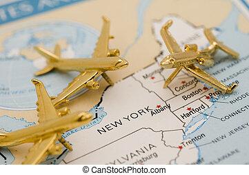 aviones, yendo, a, nueva york