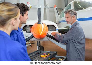 avionics technician at work