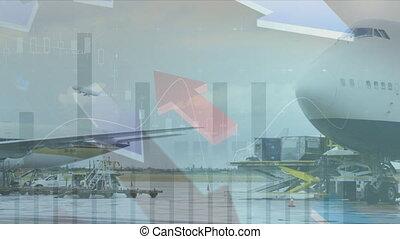 avions, animation, sur, aéroport, debout, projection, ...