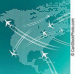 avions, carte, amérique, nord