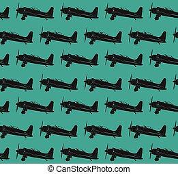 avions, retro, eps10, vecteur, pattern.