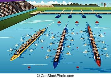 aviron, huit, rameurs, concurrence