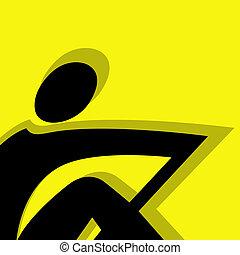 aviron, jaune, pictogramme