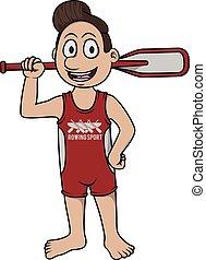 aviron, sport, -, dessin animé, illustration