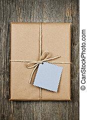 avis, brun, etiketten, gave