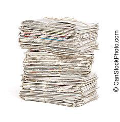 avis, bundter, hvid, stakk, baggrund